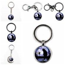 Cute Retro Cat Photo Moon Crystal Pendant Key Chain Fashion Men and Women Key Ring Quality Car Charm Bag Pendant Glass Key Chain цена и фото