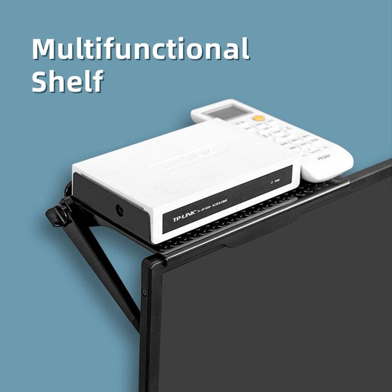 Adjustable No Punching Screen Top Shelf TV Top Screen Bracket Computer Monitor Desktop Screen Top Shelf Home Office Storage Rack