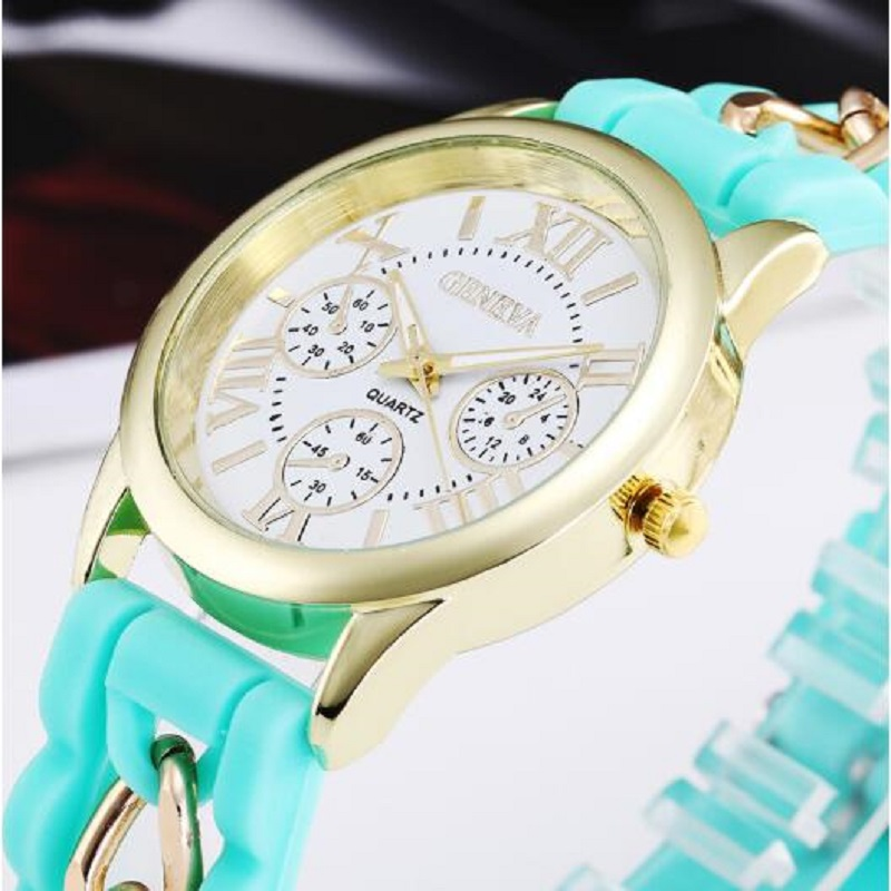 Brand Geneva Casual Quartz Watch Women Watches Silicone Watches Relogio Feminino Wrist Watch Candy Colors Erkek Kol Saati