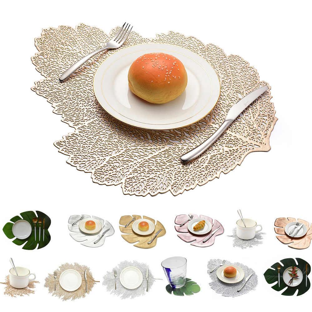 ארוחת ערב שולחן מפית לוטוס עלה דפוס מקום רפידות מטבח סימולציה צמח קפה מחצלות כוס צלחת תחתיות בית קישוטים