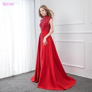 Image 3 - אופנה אדום גבוהה צווארון סאטן חרוזים שמלת ערב 2019 ארוך בת ים פורמליות ערב שמלות כובע שרוול YQLNNE