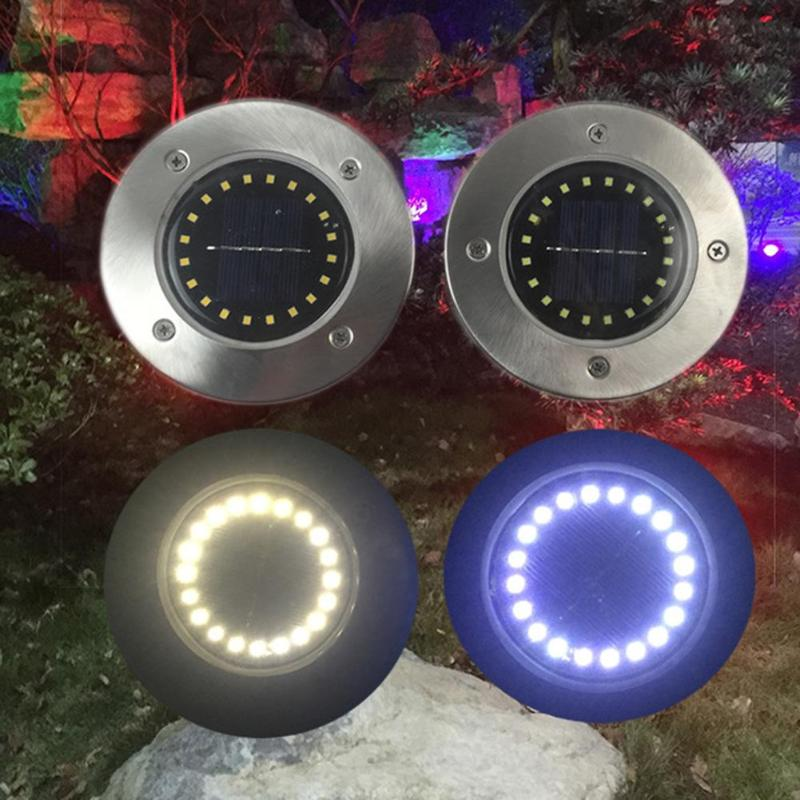 20 LED Solar Power Buried Light Under Ground Lamp Outdoor Path Way Garden Decking White Warm White Light Lawn Lamp Solar Lamps    - title=