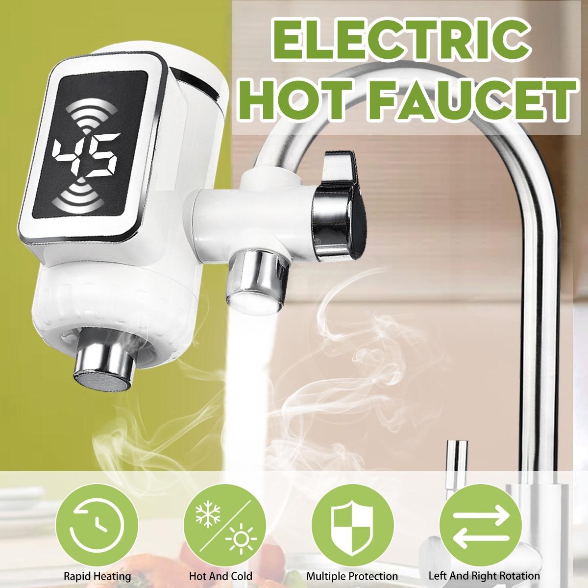 Robinet chaud électrique chauffe-eau cuisine chauffage froid robinet sans réservoir numérique instantané chauffe-eau robinet d'eau avec adaptateur