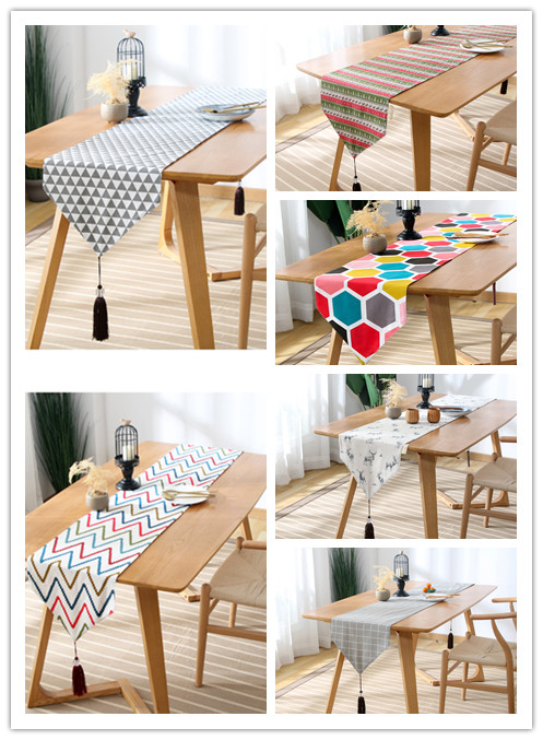 Grid Pattern Table Flag European-style Decorative Table Flag Tassel Tea Mat Cotton Linen Table Flag