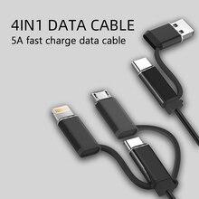Cable USB 5A 4 en 1 para teléfono móvil, Cable cargador Micro USB tipo C para iPhone 12 Pro XR XS Max X Huawei, Cable de carga rápida de datos