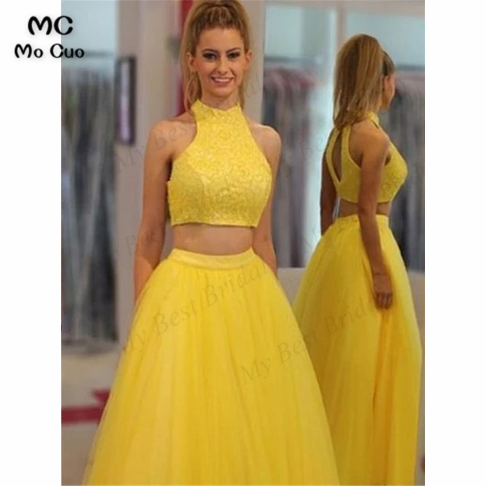Vintage Two Pieces Gown Prom Dresses Evening Gown With Lace Tulle Women's Dress For Graduation Puffy Evening Party Prom Gowns