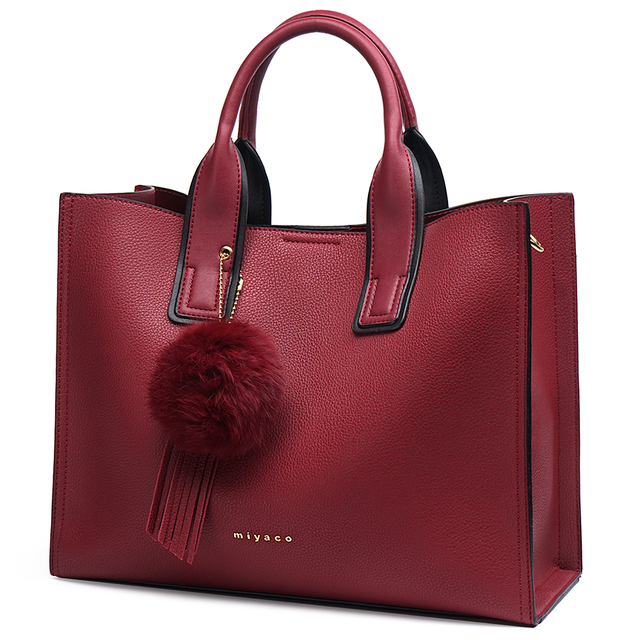 MIYACO Women Bag Leather Handbag Designer Tote Bags Female Elegant Crossbody Bags Ladies Hand Bags with Tassel&Furry ball
