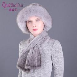 Зимние шапки и набор шарфов из натурального меха норки, вязаные женские теплые шапки из натурального меха норки с прямым шарфом