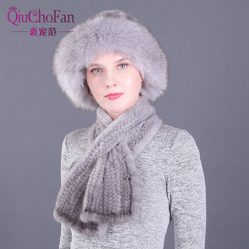 Winter Genuine Mink Fur Bucket Hats And Scarves Set Knitted Women Warm Natural Mink Fur Caps With Straight Scarf 2 pieces lady winter genuine mink fur bucket hats scarves set knitted women warm natural mink fur caps with fox fur ball scarf