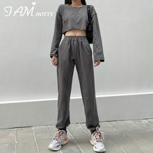 Geraffte Cropped Hoodie Baggy Jogger Frauen Sets Vintage Casual Hosen Solide Sweatshirt Lounge Tragen Outfits Trainingsanzug 2020 Iamhotty(China)