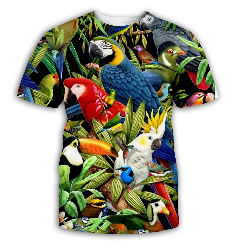 Parrot T Shirt Men Flower Tshirt Hip Hop Tee Brid 3d Print T-shirt Cool Men Women Clothing Casual Tops Sweatshirt Shirt 5XL