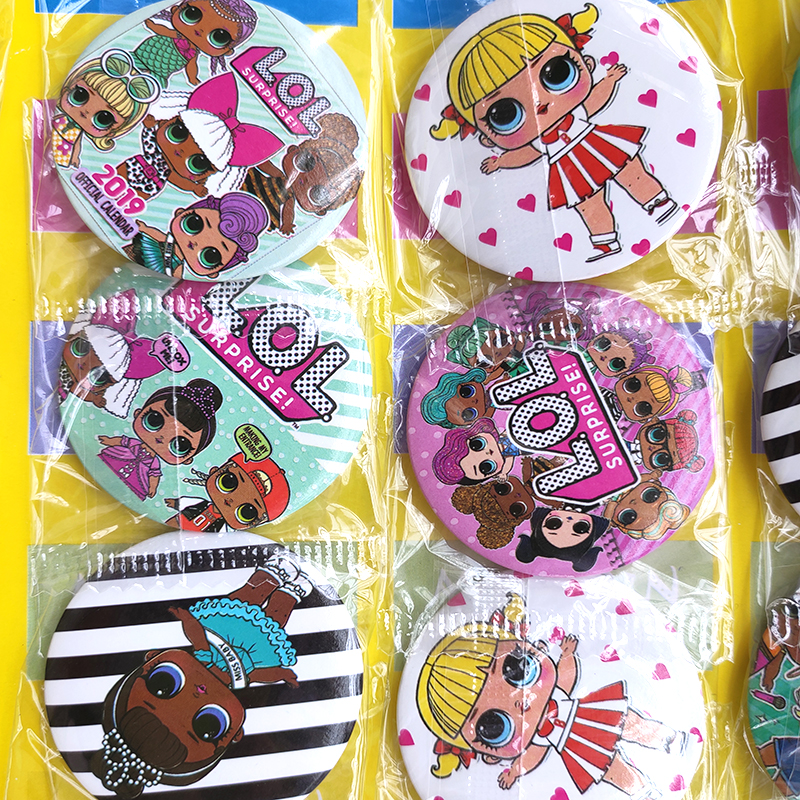 LOL Party Surprise Lol Dolls Badge Birthday Party Decorations Kid Anime Figure Cartoon Badges For Party Dress Girls Gifts