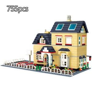 Image 3 - 市アーキテクチャヴィラコテージビルディングブロックセット友人ビーチ小屋モジュラー家村モデルのおもちゃ