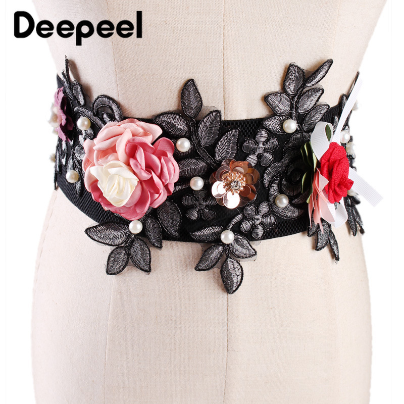 Deepeel 1pc 7.5*65cm  Women's High Waist Elastic Cummerbunds Three-dimensional Flowers Pearl Embellishment Elegant Girdle YK768