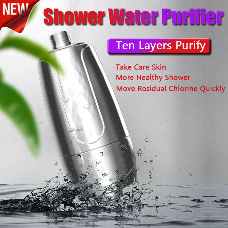 Shower Bath Head Purifier Water Softener Filter Skin Health Remove Chlorine Silver Color