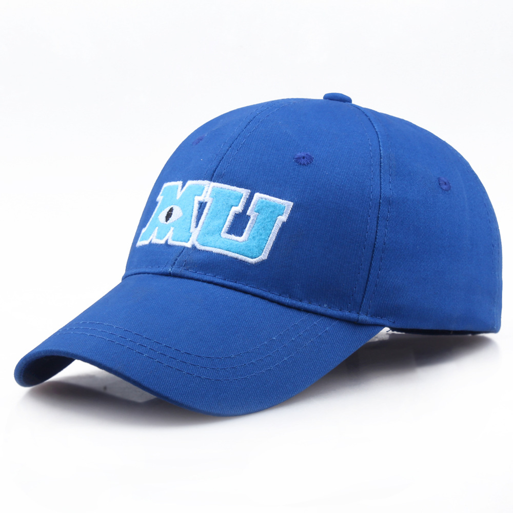 2020 New Monsters University Sullivan Sulley Mike MU Letters Embroidery Baseball Cap Blue Hat One Piece Baseball Caps Sun Hats