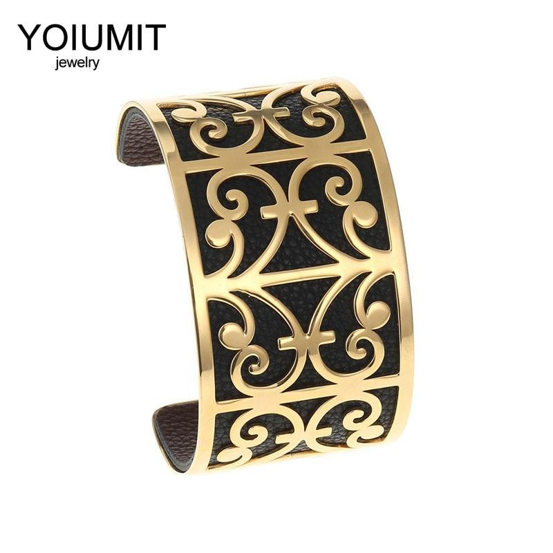 Cremo Giraffe Gold Cuff Bracelets & Bangles For Women Bijoux Stainless Steel Bracelet Manchette Reversible Wide Leather Pulseras