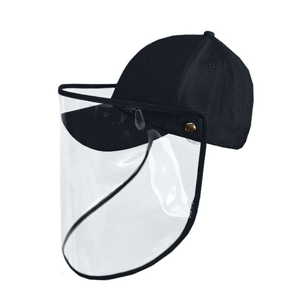 Protection Black Cap Face Mask with Removable Anti-fog Saliva Windproof Fisherman Hat Transparent Adult Fast Delivery in Stock