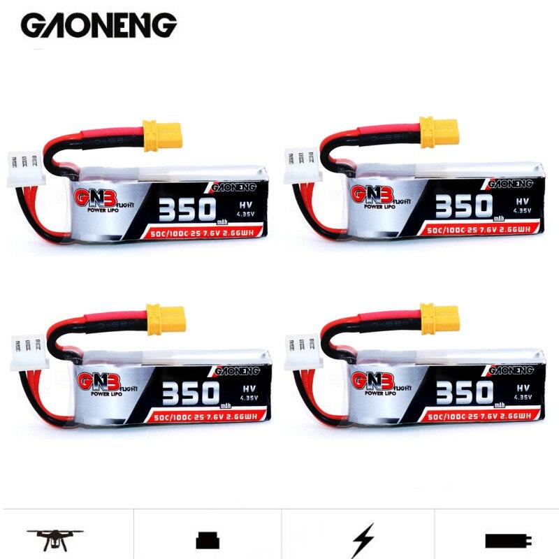 4 pces gaoneng gnb 2 s 7.6 v 350 mah hv 4.35 v 50c/100c lipo bateria xt30 para beta75x rc cine whoop betafpv zangão fpv corrida cine