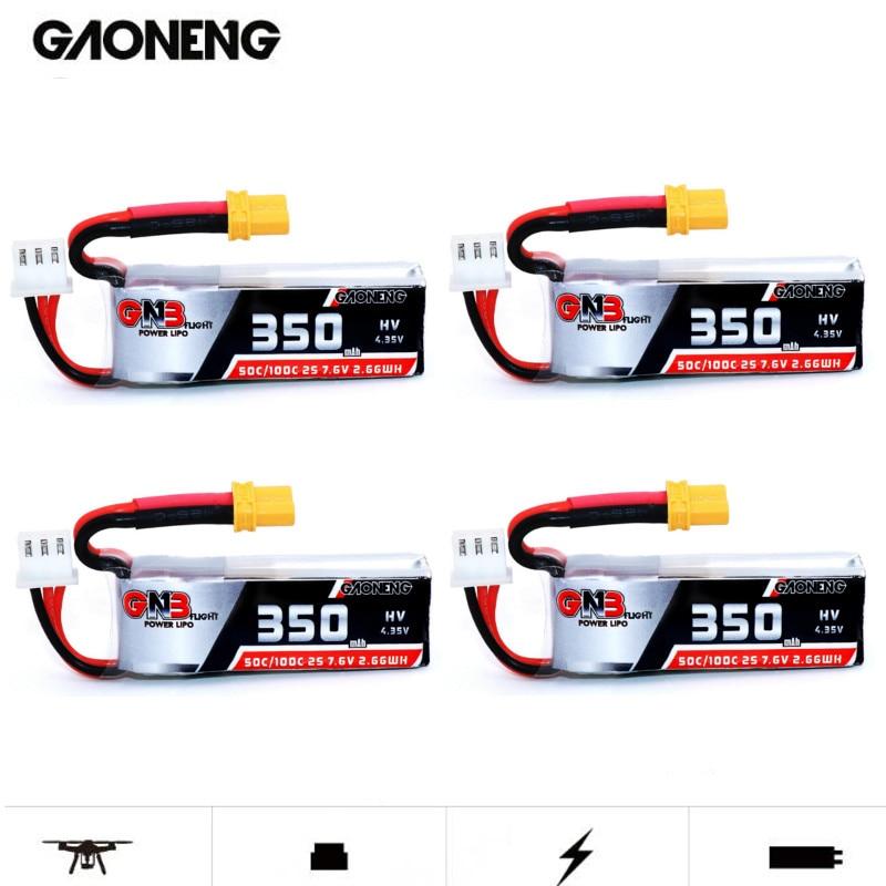 4PCS Gaoneng GNB 2S 7.6V 350mAh HV 4.35V 50C/100C Lipo Battery XT30 for Beta75X RC Cine Whoop BetaFPV Drone FPV Racing Cine