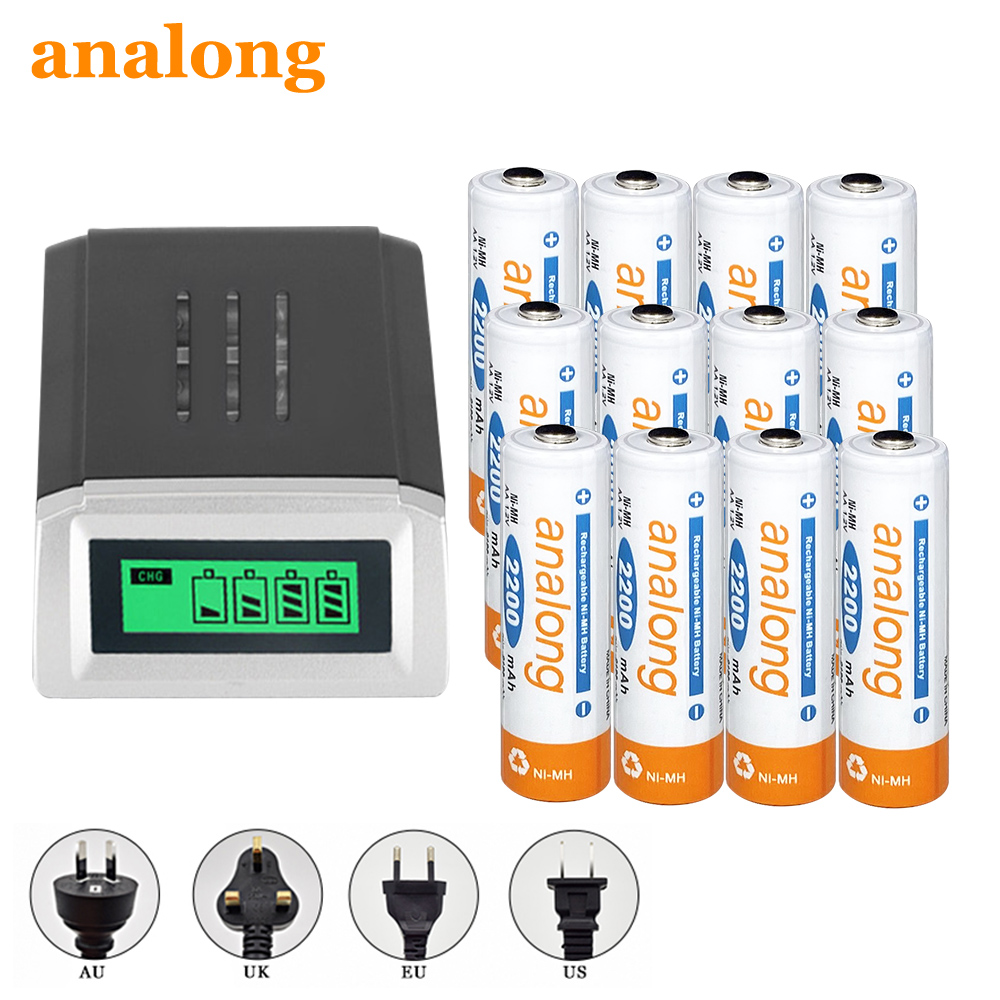 analong 12pcs <font><b>aa</b></font> <font><b>battery</b></font> <font><b>aa</b></font> rechargeable <font><b>battery</b></font> <font><b>batteries</b></font> 2200mah nimh with charger for <font><b>aa</b></font> aaa nimh <font><b>nicd</b></font> <font><b>1.2v</b></font> batteria image
