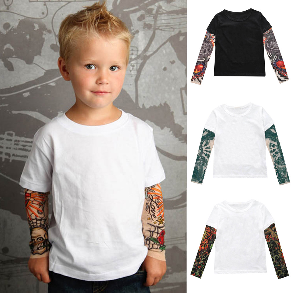 T-Shirts Cotton Boys Novelty Tattoo Long Sleeve Children  T Shirt Kids TShirt