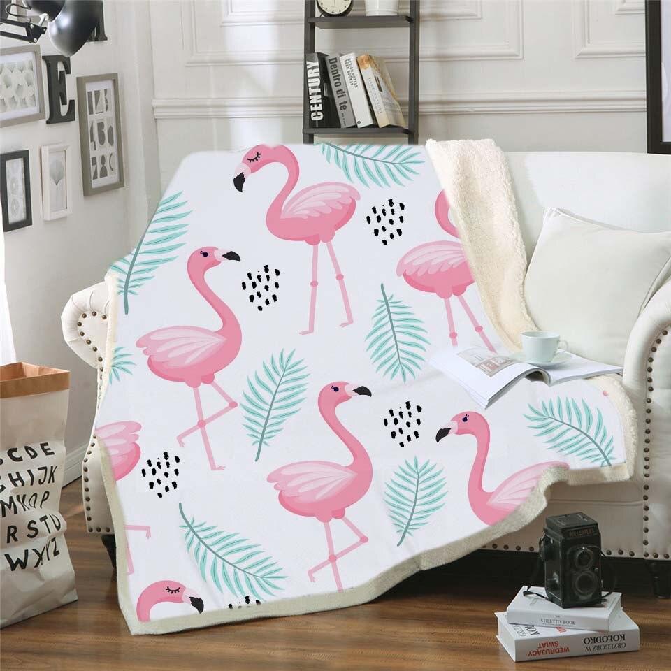 Plantes tropicales Floral polaire Sherpa couverture rose Flamingo filles literie hiver peluche jeter couverture enfants cadeau 3d impression couverture