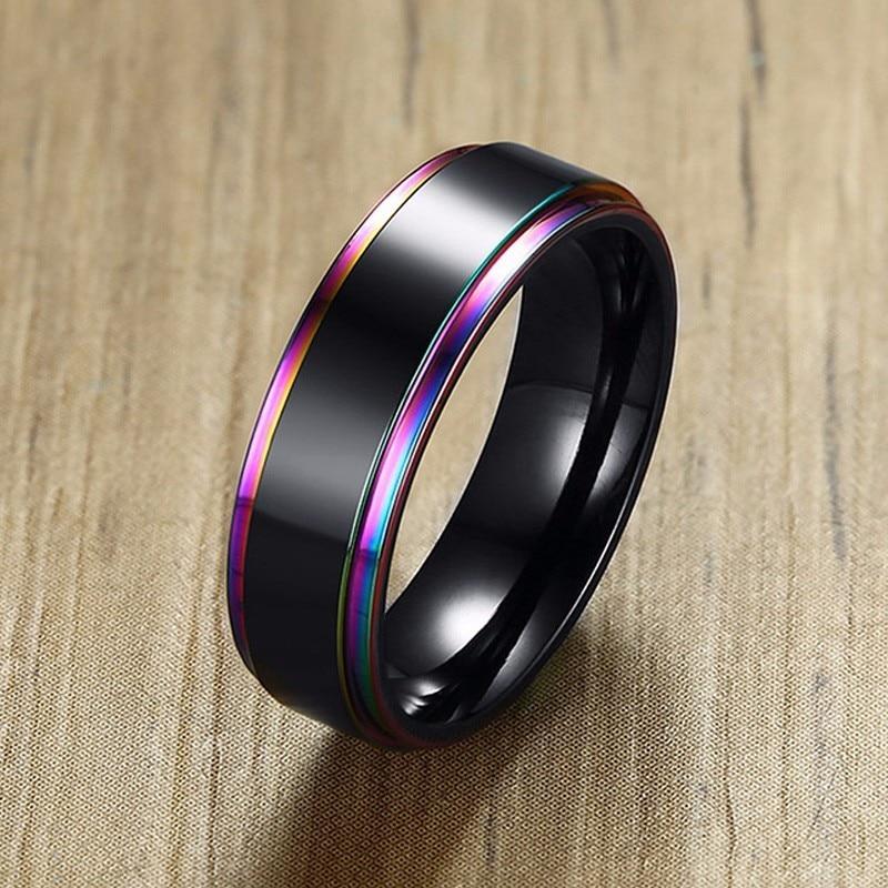 Herren Edelstahl Ring Regenbogen Multicolor Hochzeit Marken 6mm Breite Versprechen Ringe Männlichen Komfort Fit Für Seine Schmuck
