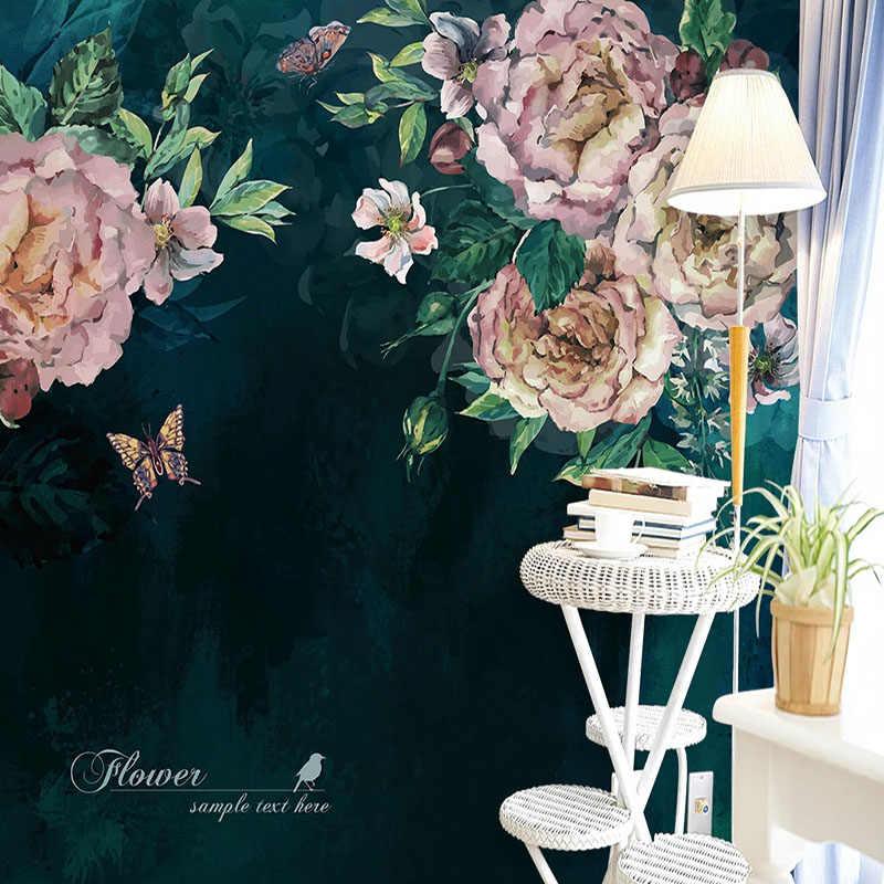 Custom 3D קיר מדבקת אירופאי סגנון רטרו שמן ציור פרחי טפט סלון חדר שינה עיצוב בית PVC עמיד למים פוסטר