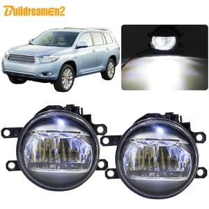 Buildreamen2 dla Toyota Highlander 2008 2009 2010 2011 2012 światło przeciwmgielne samochodu 4000 lm LED lampa światła do jazdy dziennej DRL biały 12V