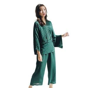 Image 5 - Женские пижамные комплекты, комплект из 2 предметов, весенний женский топ и штаны, повседневные кимоно с длинным рукавом, рубашки и штаны, женские пижамы, домашний костюм