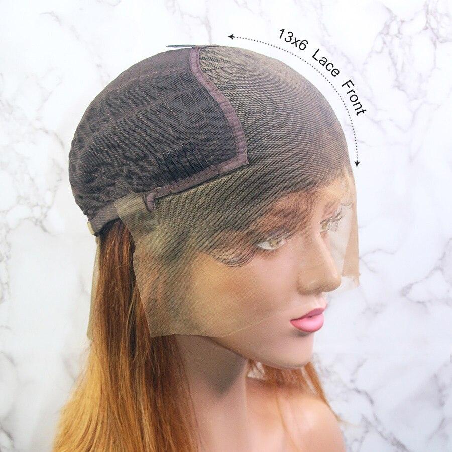 Shengji 13x6 Синтетические волосы на кружеве парики из натуральных волос прямые волосы 3T блондинка с эффектом деграде (переход от темного к хит п... - 2