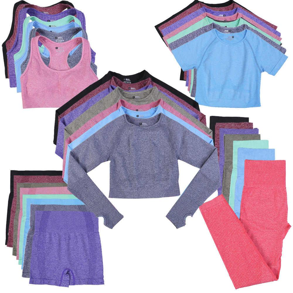 10 couleurs 5 pièces sans couture Yoga ensemble entraînement ensemble de gymnastique femmes vêtements Fitness court haut court taille haute Leggings Shorts Sport costumes