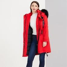 2019 Winter Neue Daunen Jacke Frauen Original Design Medium Lange Beiläufige Mit Kapuze Große Waschbären Pelz Kragen Unten Mantel Weibliche Outwear