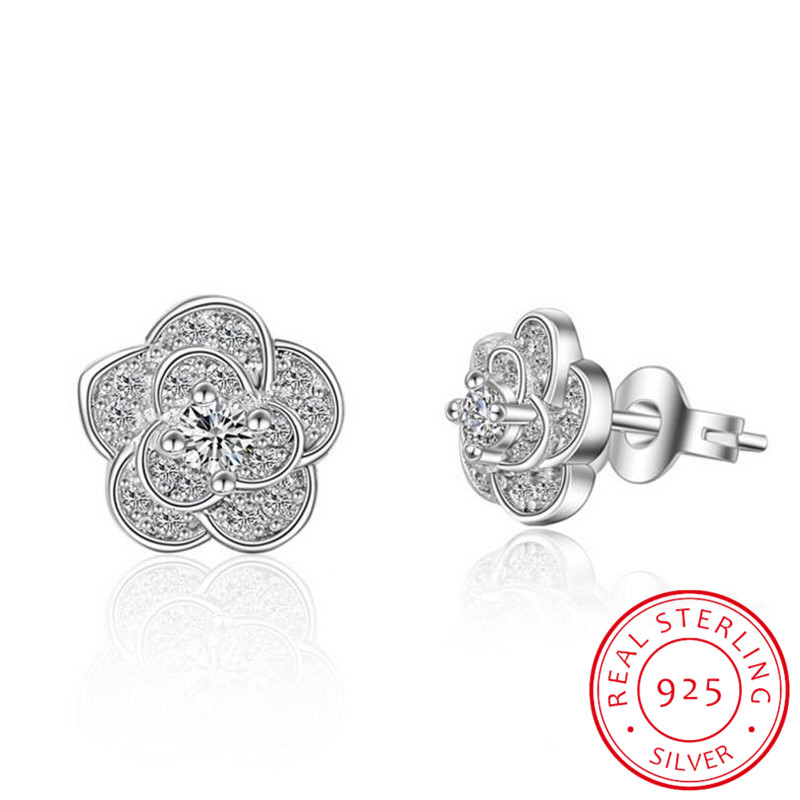 Real 925 Sterling Silver Plum Blossom Flower Earrings For Women Christmas Gift Hot Wedding Statement Jewelry Pendientes Brincos