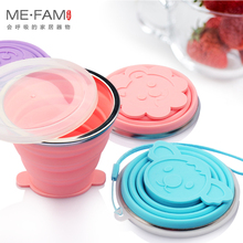 ME.FAM Set Silicone Folding Cups Cute Cartoon Animal With Cover Lid Outdoor Collapsible Travel Child Brushing Teeth Gargle Copa