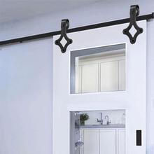 New 183CM Sliding Barn Wooden Door Hardware Hanging Rail Europe Rustic Black Sliding Track Roller Cabinet Home Improvement HWC