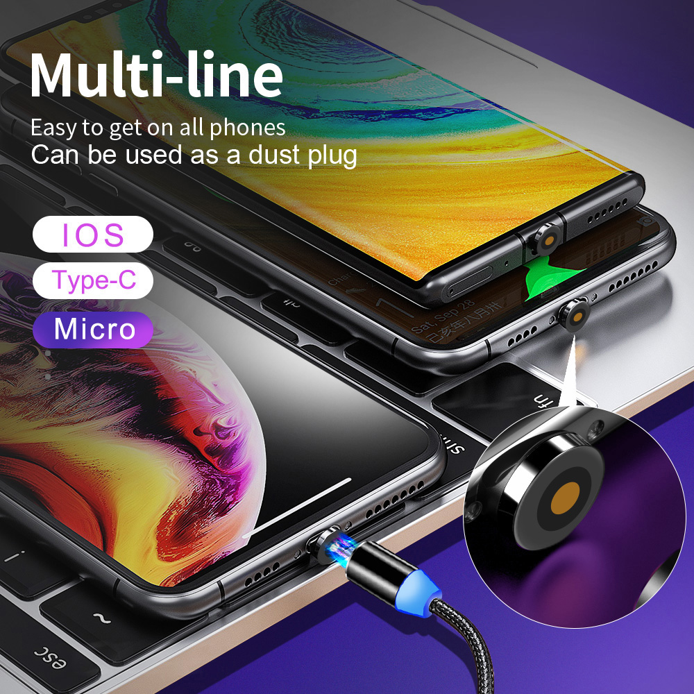 Magnetic Cable Micro USB Type C Cable For iPhone 11 Pro Max Samsung Fast Charging Magnetic Charger USB Cables Mobile Phone Cord Mobile Phone Accessories Mobile Phone Cables Smartphones