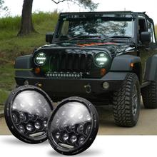 Multi-function Headlights For Jeep Wrangler JK LJ TJ CJ 7 Inch Round LED Headlights Halo Angle Eyes Wholesale Quick delivery CSV