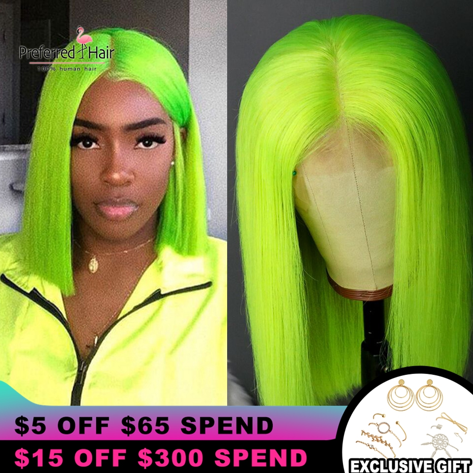 Preferred Ombre Human Hair Wig Brazilian Remy Hair Short Wig With Baby Hair Preplucked Bob Lace Front Wigs For Black Women