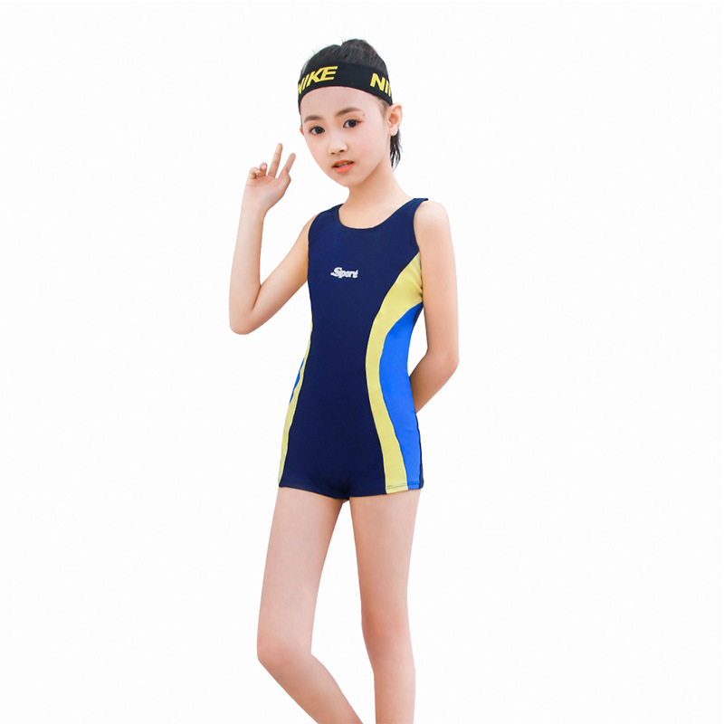 2019 New Style Profession One-piece Middle And Large Girls KID'S Swimwear Boxers Learning Training Swimming