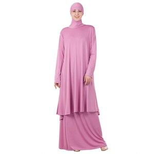 Image 2 - 女性イスラム教徒の礼拝アバヤ二枚ドレストーブガウンヒジャーブ祈り中東ローブイスラムフード Abayas スカート祈る服