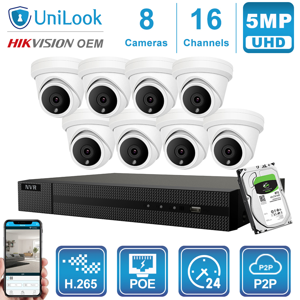 Hikvision OEM 16CH 4K NVR 5MP Dome POE IP Camera 8/10/12/16PCS Outdoor Security ONVIF H.265 CCTV System NVR Kit With 1/2/4TB HDD