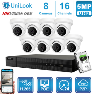 Image 4 - UniLook 16CH NVR 5MP Turret POE IP Camera 8/10/12/16PCS Outdoor Security Hikvision OEM ONVIF H.265 CCTV system NVR Kit With HDD