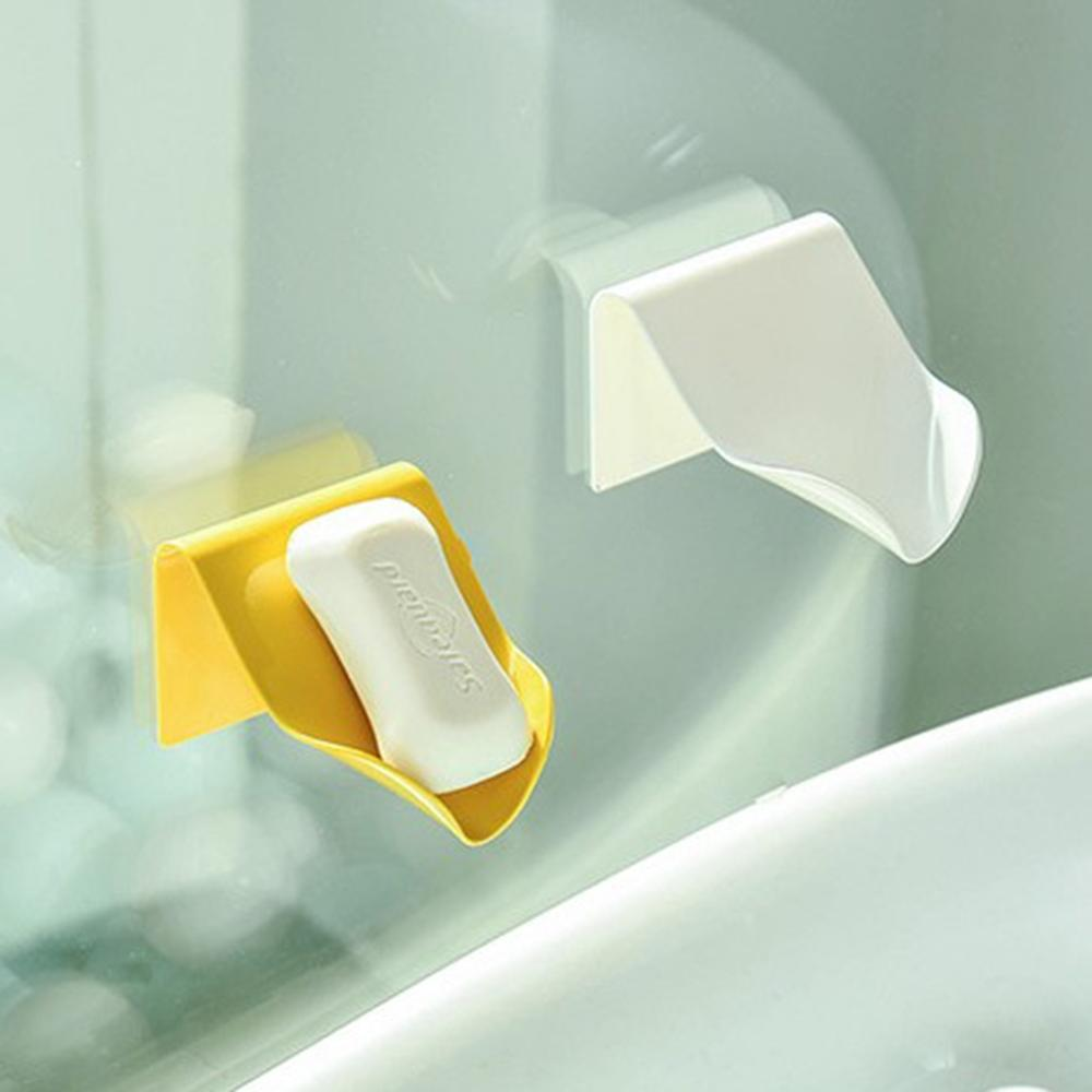 Soap Dish Bathroom Soap Receptacle Manual Soap Holder Quick Drain Bathroom Self Adhesive Soap Holder