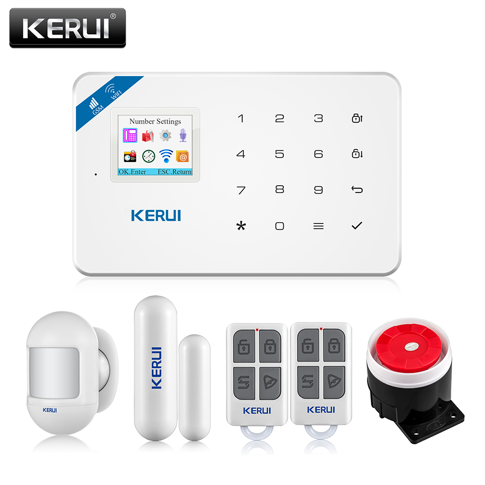 KERUI W18 Drahtlose WiFi GSM Einbrecher Alarm System Home Security Alarm System Android ios APP Control mit D026 Tür Fenster sensor