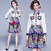 Banulin Runway Designer Print Dresses Women Luxury Floral Elegent Long Sleeve Autumn New Vintage Pockets Mini Dress