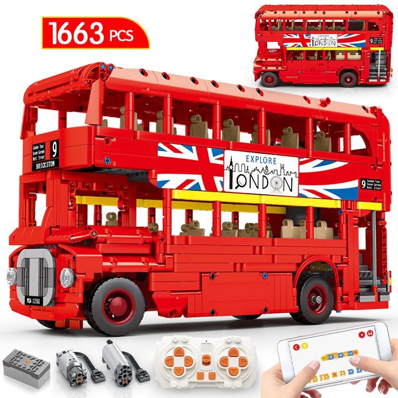 Конструктор City MOC Technic, Радиоуправляемый строительный кубик с двухслойным автобусом, с голосовым управлением через приложение, школьный авт...