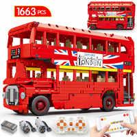 Technic-construcción de un autobús de dos pisos para niños, MOC, programación, autobús de bloques de construcción, aplicación creadora, Control remoto por voz, coche escolar, piezas, Juguetes