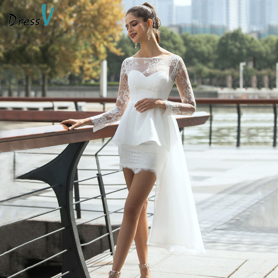 Dressv Bateau Neck Wedding Dresses Long Sleeves Lace Sheath Organza Satin Outdoor&Church Beach Wedding Dress Custom Size Button